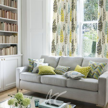 Clarke and Clarke Cariba Coco Chartreuse Curtain Fabric