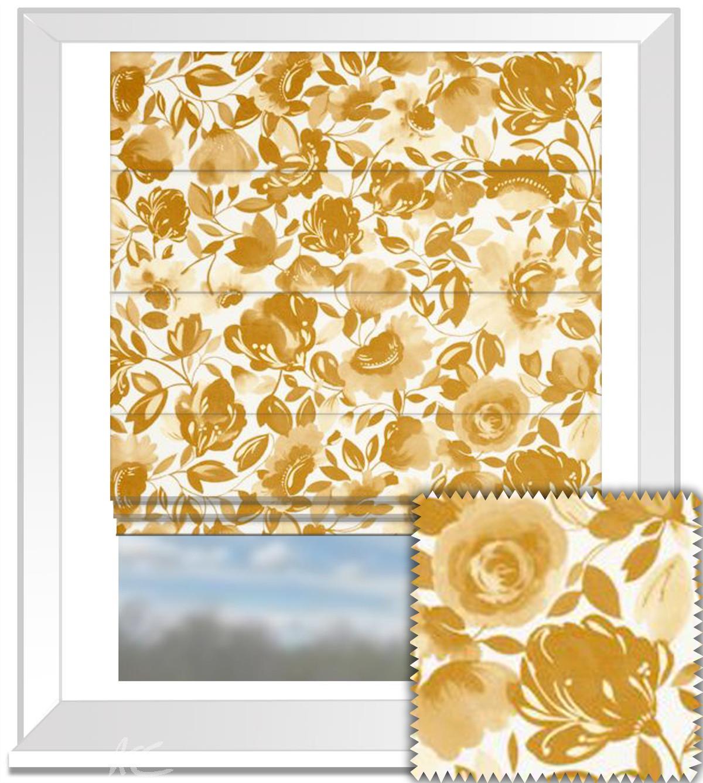 Clarke And Clarke Artbook Caitlin Velvet Gold Roman Blind