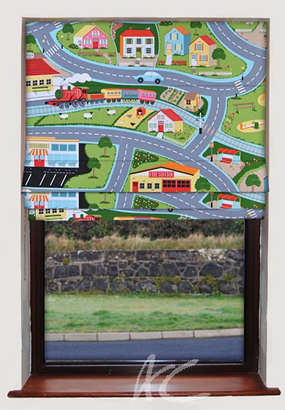 Childrens Road Map Roman Blind