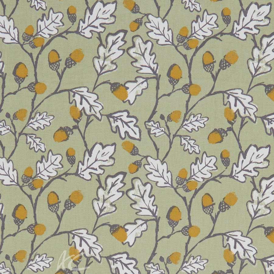 A Land and Sea Acorn Trail Sage Curtain Fabric