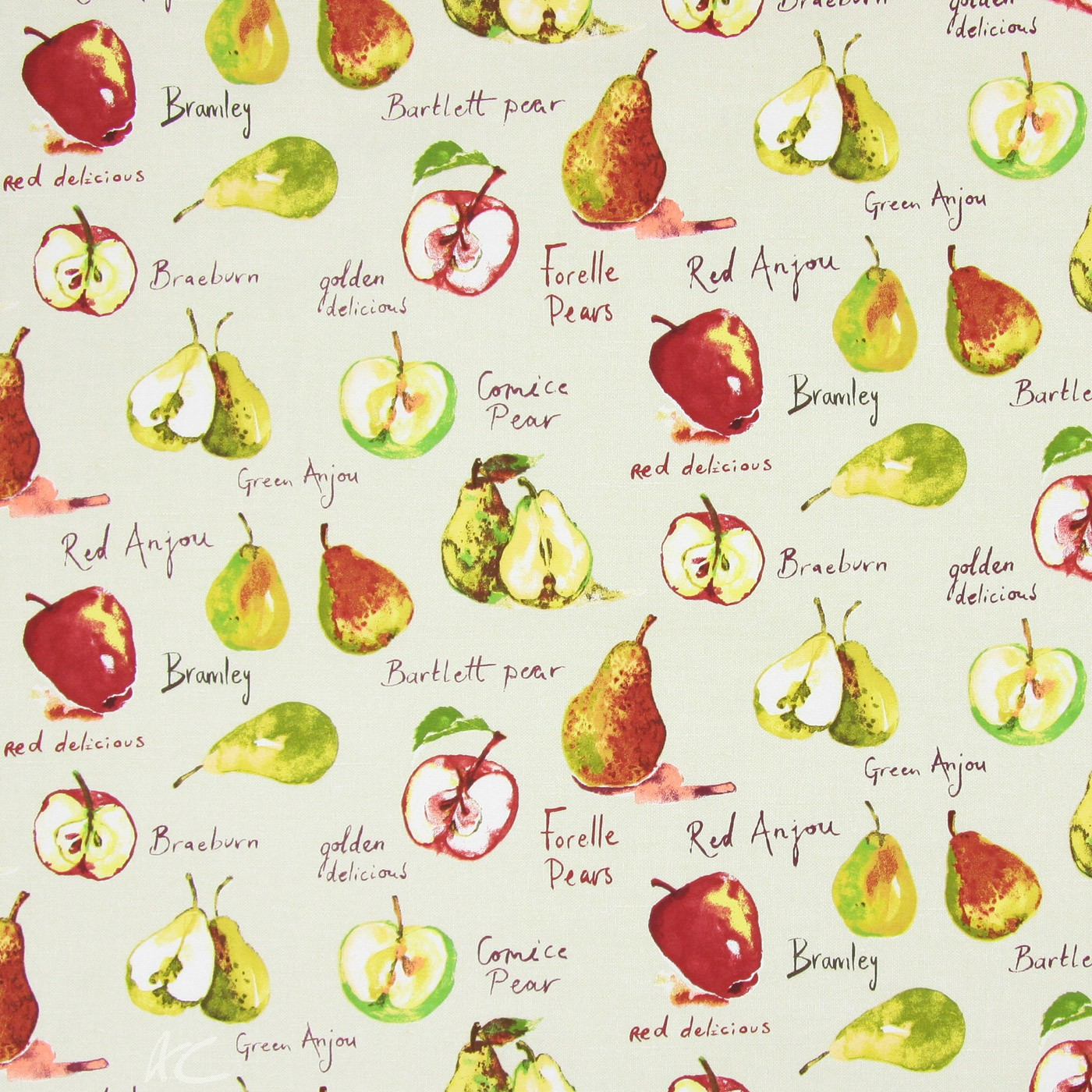 Country Fair Autumn Fruit Linen Curtain Fabric