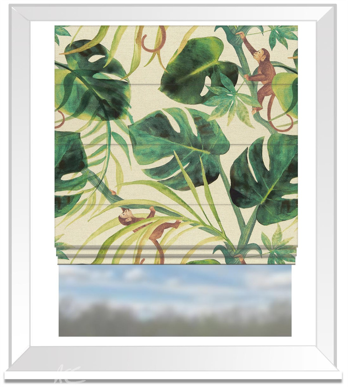 Clarke and Clarke Colony Monkey Business Natural Roman Blind