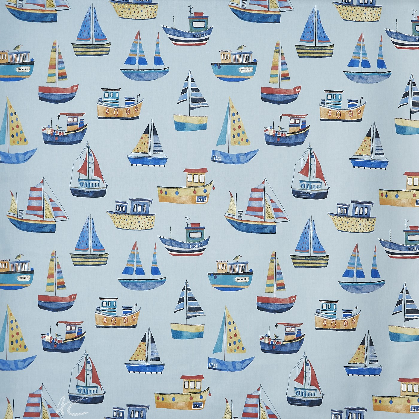 A Prestigious Textiles Beachcomber Boat Club Ocean Curtain Fabric
