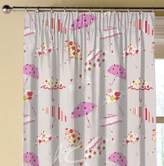 Clarke and Clarke Blighty Brollies Pink Made to Measure Curtains