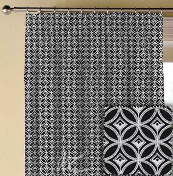 Clarke and Clarke BW1009 Black and White Made to Measure Curtains
