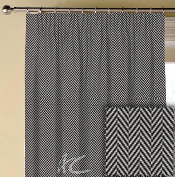 Clarke and Clarke BW1026 Black and White Made to Measure Curtains
