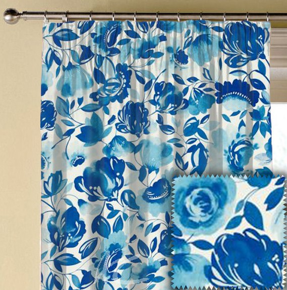 Clarke and Clarke Artbook Caitlin Linen Aqua Made to Measure Curtains