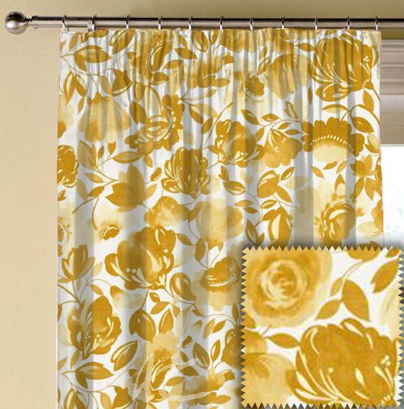 Clarke and Clarke Artbook Caitlin Linen Gold Made to Measure Curtains
