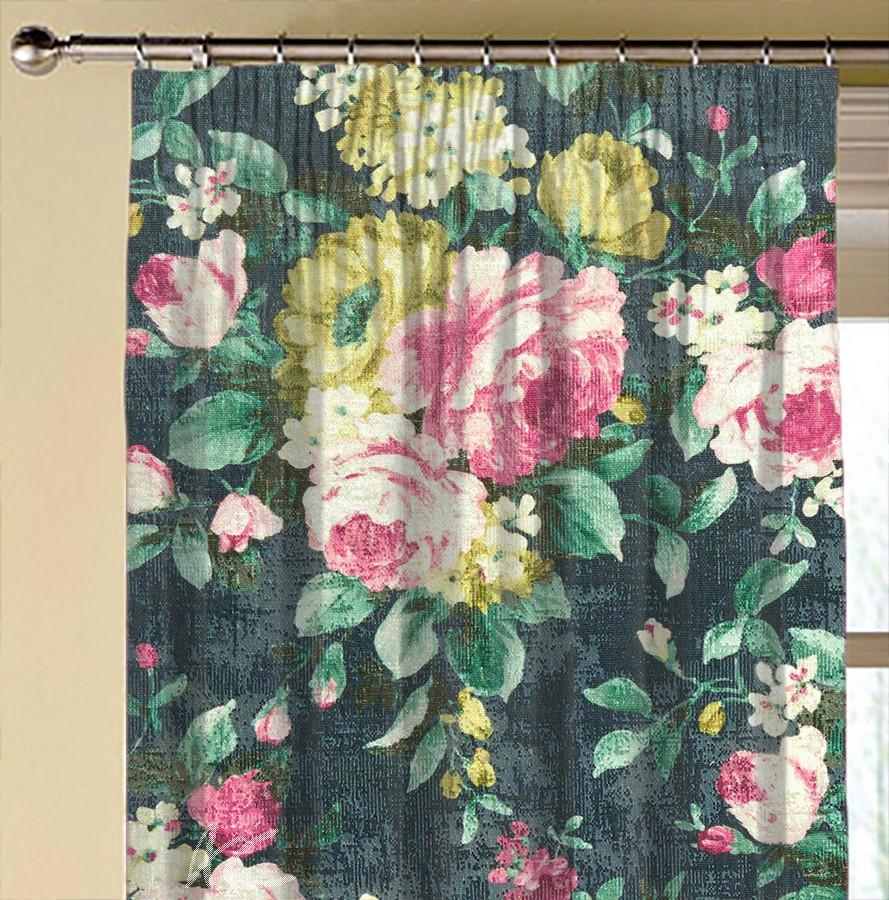 Clarke and Clarke  Colony Emeline Indigo Made to Measure Curtains