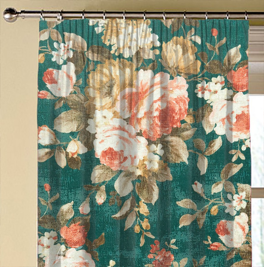 Clarke and Clarke  Colony Emeline Teal Made to Measure Curtains