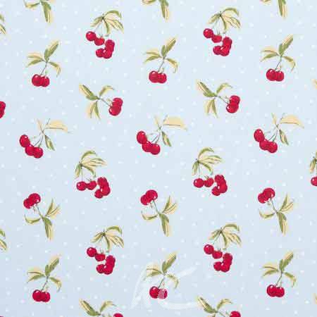 Clarke and Clarke Blighty Cherries Duckegg Curtain Fabric