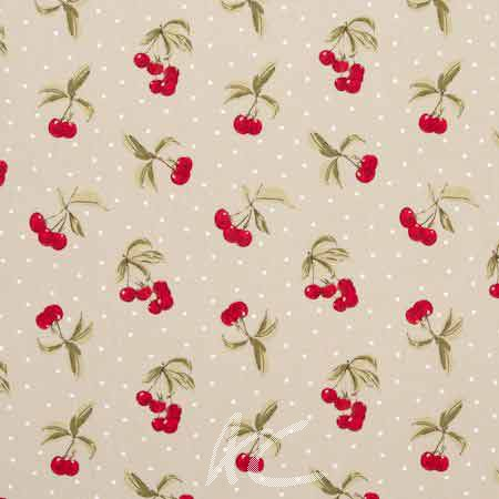 Clarke and Clarke Blighty Cherries Taupe Curtain Fabric