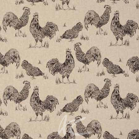 Clarke and Clarke Fougeres Chickens Noir Curtain Fabric