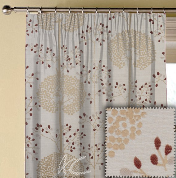 Prestigious Textiles Eden Moonseed Cranberry Made to Measure Curtains