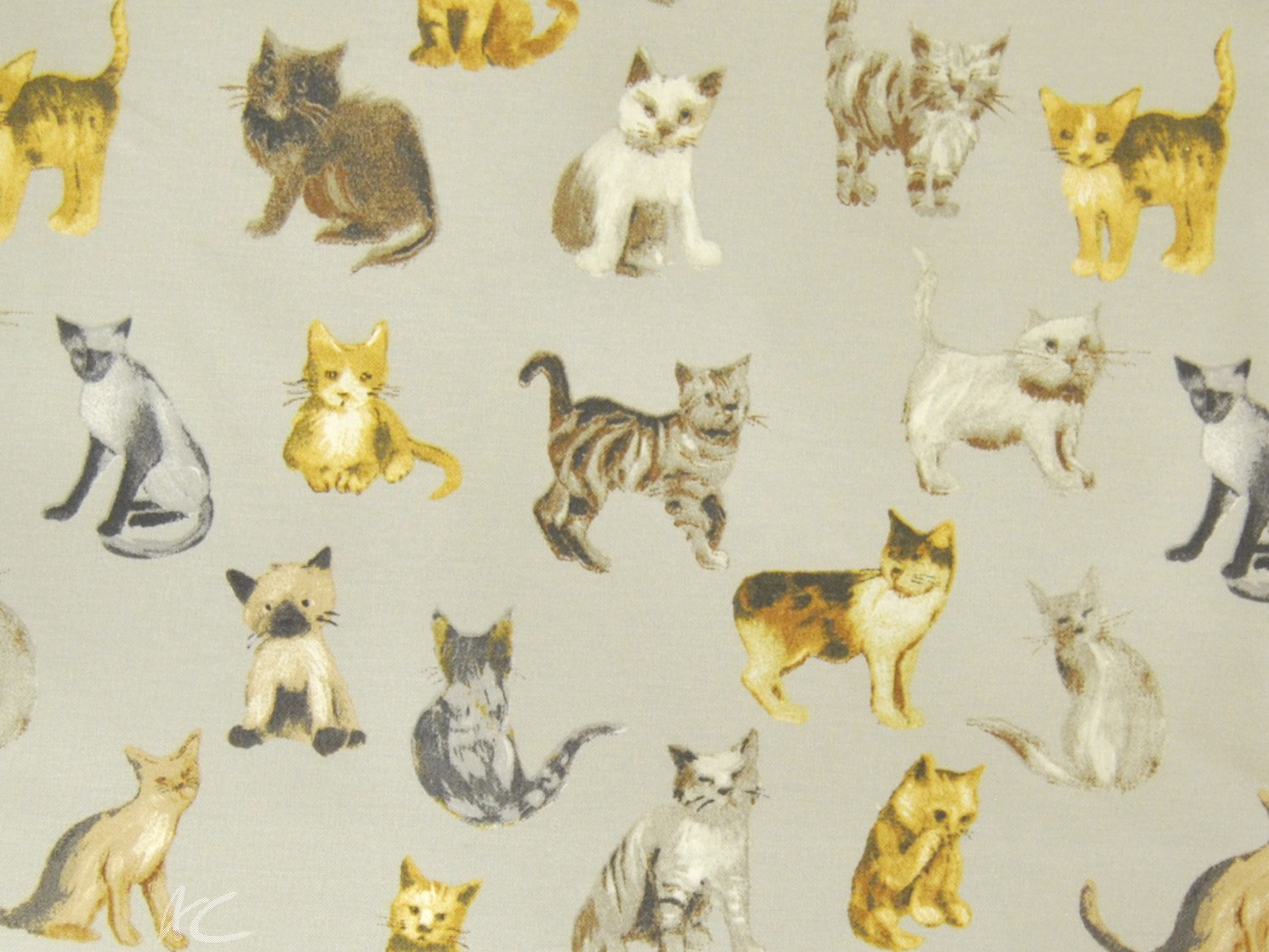Novelty Cool Cats silver Curtain Fabric