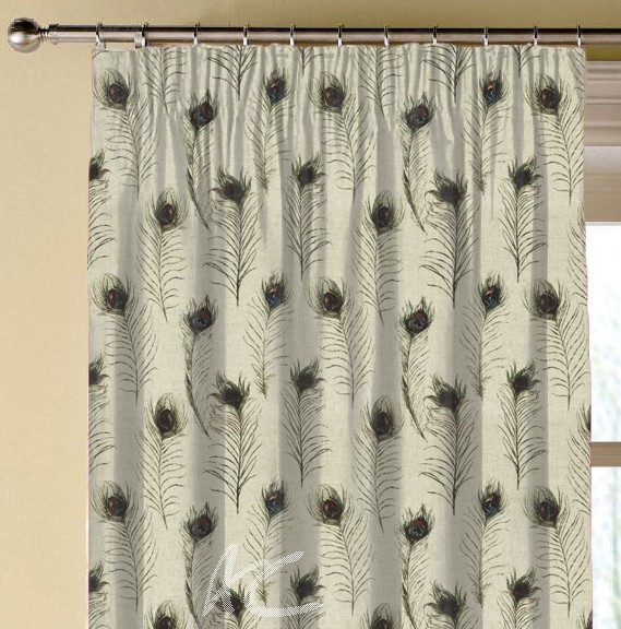 Clarke and Clarke Countryside PeacockFeathers Linen Made to Measure Curtains