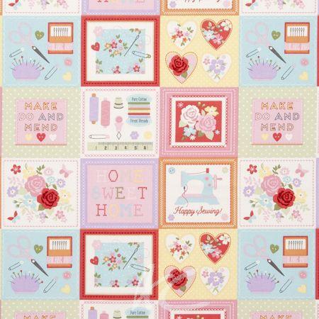 Clarke and Clarke Sketchbook Craftwork Pink Curtain Fabric