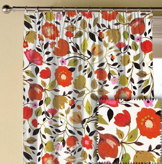 Clarke and Clarke Artbook RedTulips Linen Autumn Made to Measure Curtains
