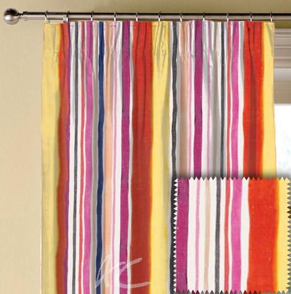 Clarke and Clarke Artbook Sunrise Stripe Linen Spice Made to Measure Curtains