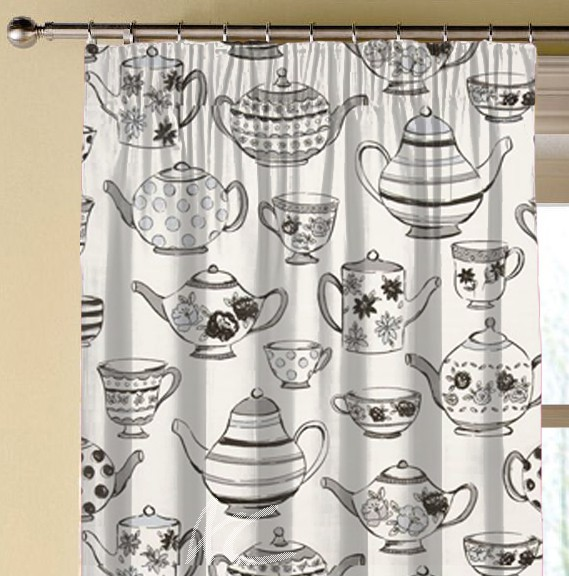 Clarke and Clarke Blighty Teatime Charcoal Made to Measure Curtains