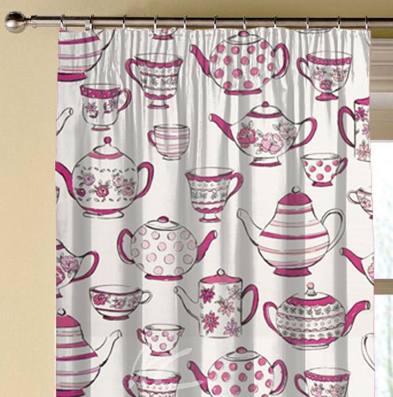 Clarke and Clarke Blighty Teatime Pink Made to Measure Curtains