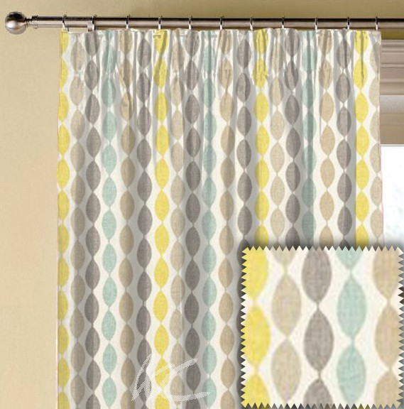 Clarke and Clarke Festival Twist Aqua Made to Measure Curtains