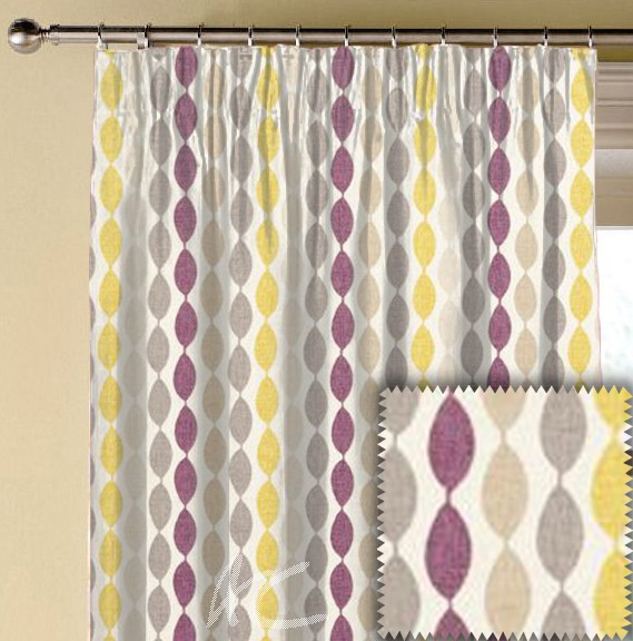 Clarke and Clarke Festival Twist Elderberry Made to Measure Curtains