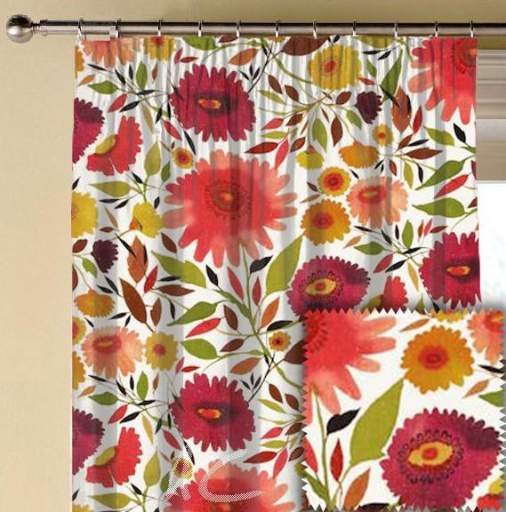 Clarke and Clarke Artbook Zinnias Linen Autumn Made to Measure Curtains