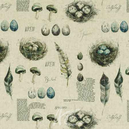 Clarke and Clarke Countryside Eggs&Nests Linen Curtain Fabric