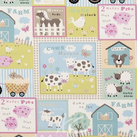 Clarke and Clarke Farm Yard Pastel Curtain Fabric