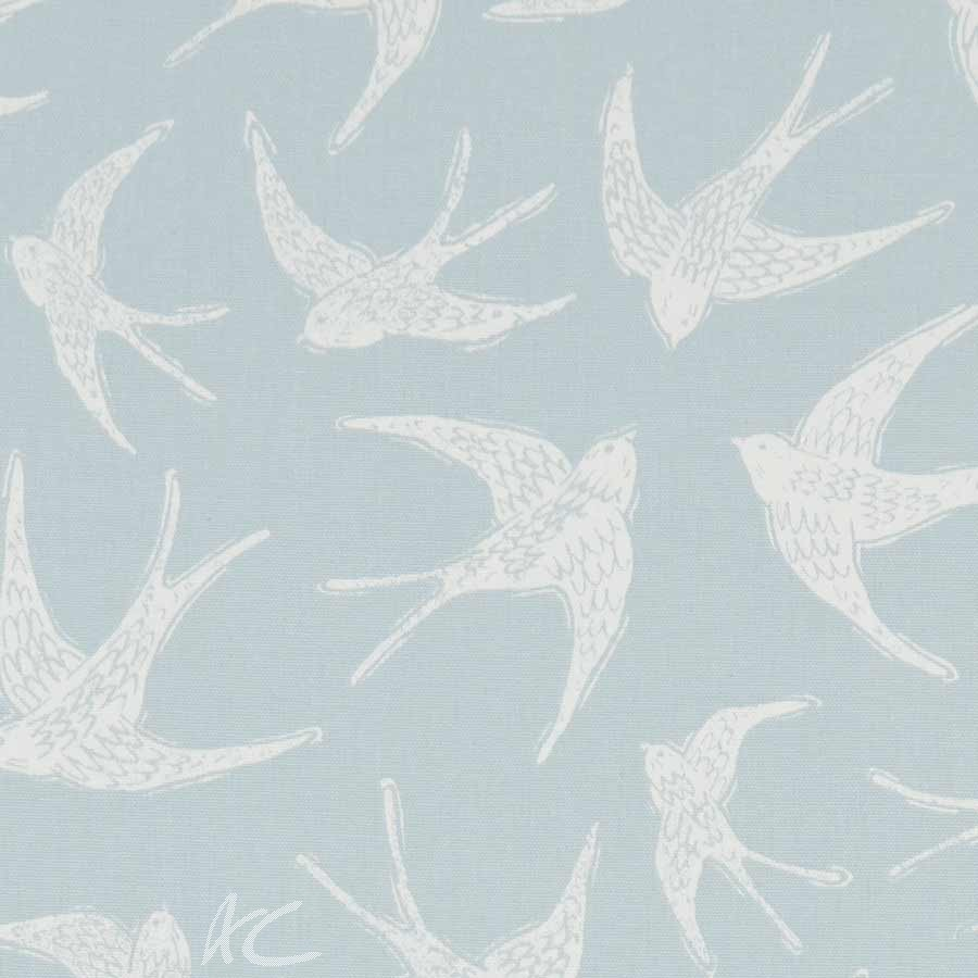 A Land and Sea Fly Away Duckegg Curtain Fabric