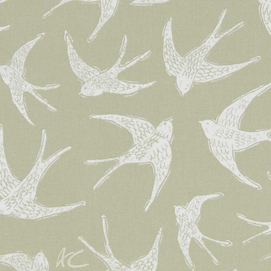 A Land and Sea Fly Away Sage  Curtain Fabric