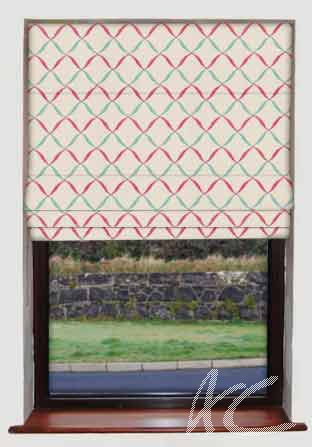 Clarke and Clarke Gustavo Gina Raspberry Roman Blind