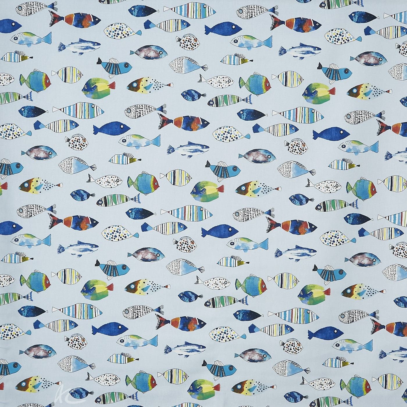 A Prestigious Textiles Beachcomber Gone Fishing Ocean Curtain Fabric