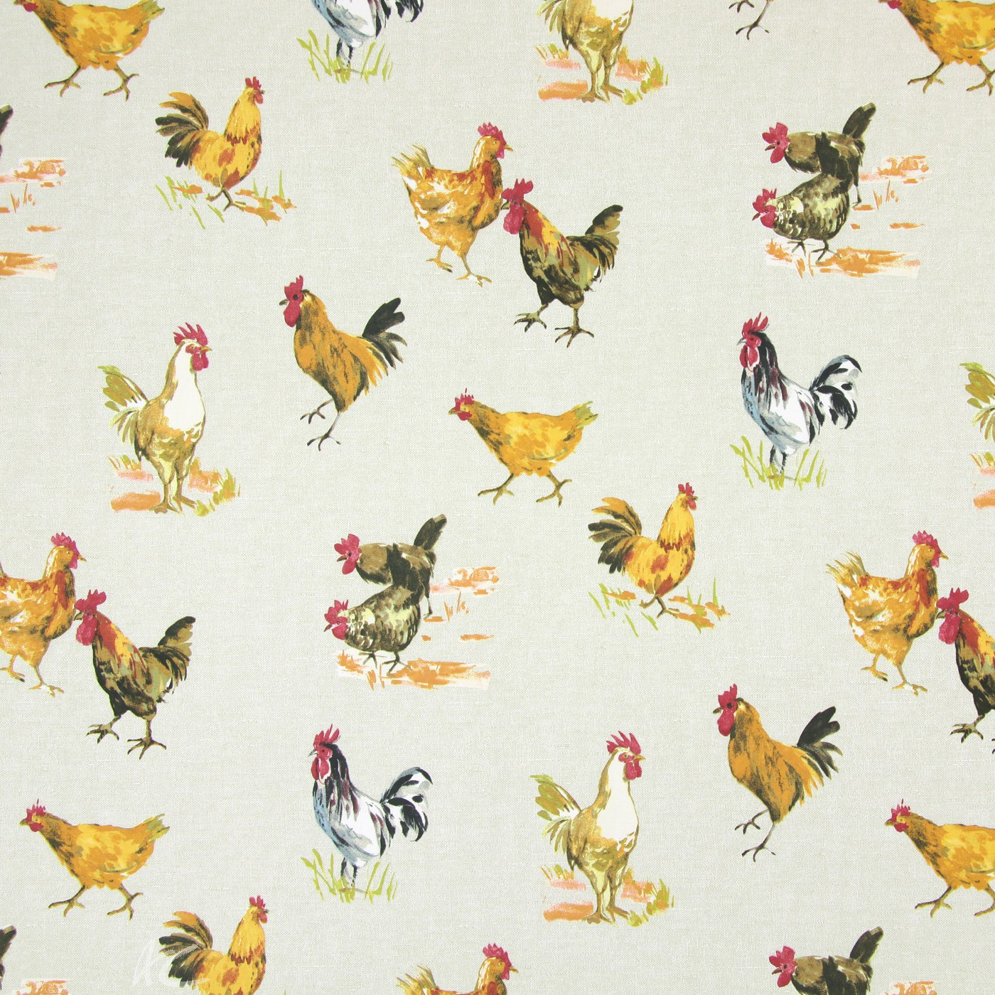 Country Fair Hens Linen Curtain Fabric
