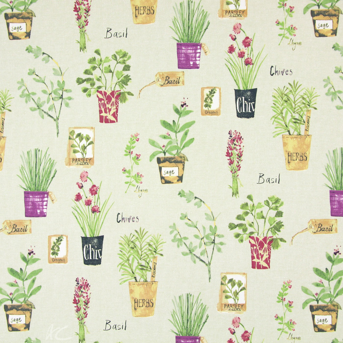 Country Fair Herb Pots Linen Made to Measure Curtains