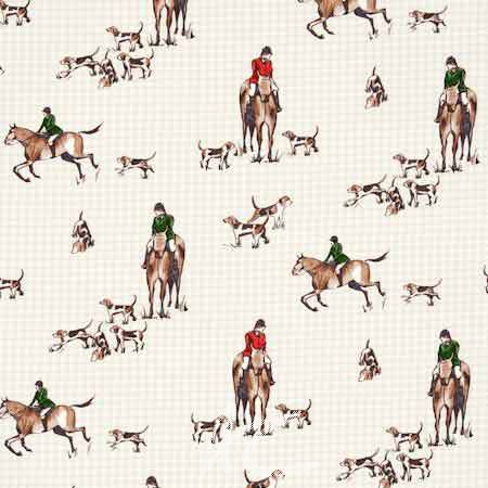Clarke and Clarke Blighty Horse&Hound Multi Curtain Fabric