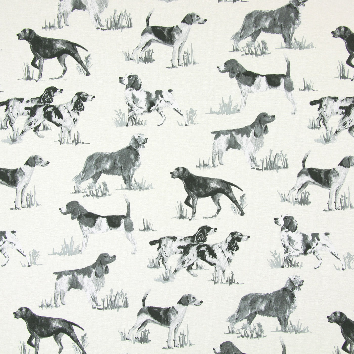 Country Fair Hounds Charcoal Cushion Covers