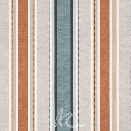 Clarke and Clarke Octavia Luella Teal/Spice Curtain Fabric