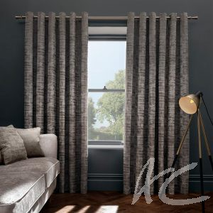 """Naples Taupe Eyelet Curtains 46 """" wide x 90"""" drop"""