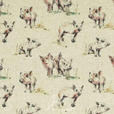 Clarke and Clarke Countryside Oink Linen Curtain Fabric