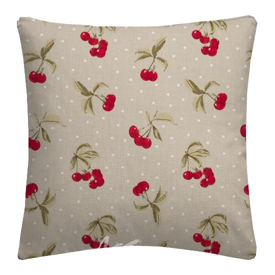 Clarke and Clarke Blighty Cherries Taupe Cushion Covers