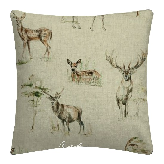 Clarke and Clarke Countryside Deer Linen Cushion Covers