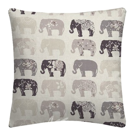 Clarke and Clarke Blighty Elephants Natural Cushion Covers