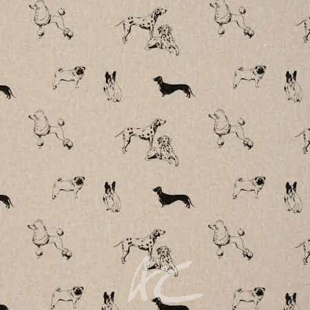 Clarke and Clarke Fougeres Pooches Noir Cushion Covers