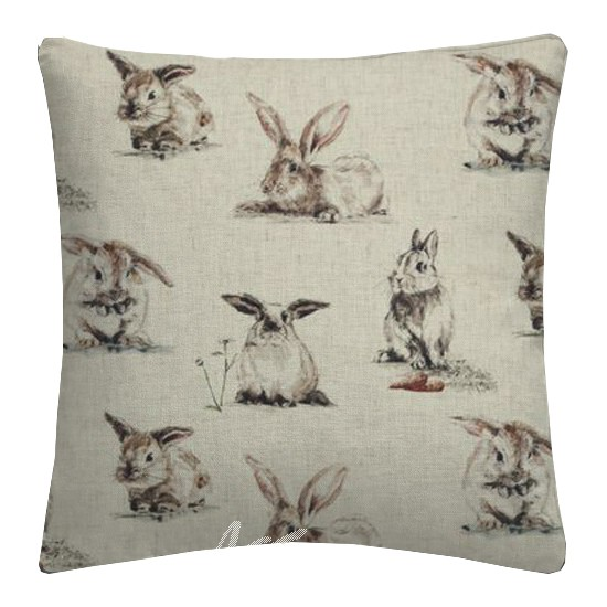 Clarke and Clarke Countryside Rabbits Linen Cushion Covers