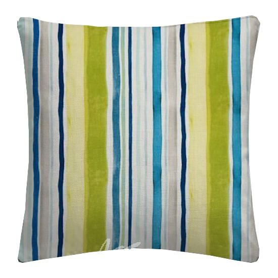 Clarke and Clarke Artbook Sunrise Stripe Linen Aqua Cushion Covers