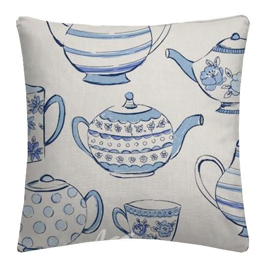 Clarke and Clarke Blighty Teatime Blue Cushion Covers