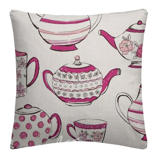 Clarke and Clarke Blighty Teatime Pink Cushion Covers