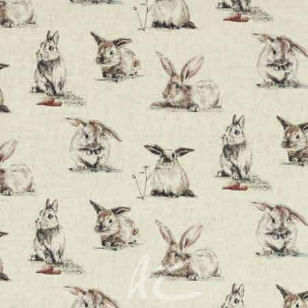 Clarke and Clarke Countryside Rabbits Linen Curtain Fabric